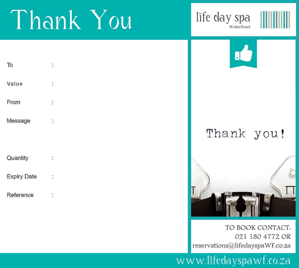 Thank you gift voucher r500 life day spa waterfront voucher image negle Images