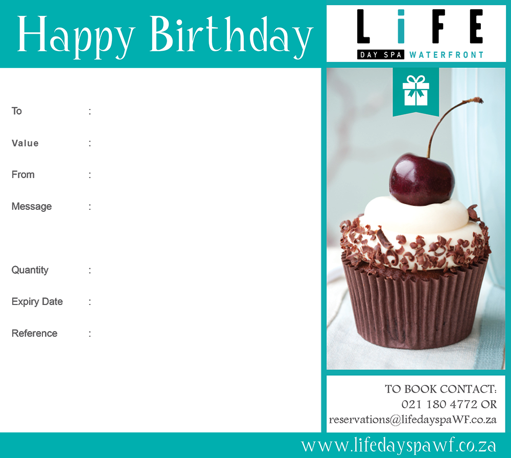 happy birthday gift voucher r2500 life day spa waterfront